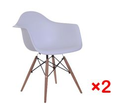 New Set of 2 Indoor Modern Wire Wood Base Chairs Plastic Side White Garden Home