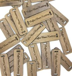 Wooden product tags-laser cut and engraved - ideal to be sewn onto knitted hats, scarves, shawls...