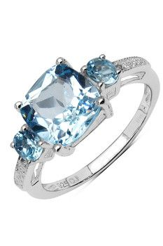 Olivia Leone Sterling Silver Cushion Oval Blue Topaz & White Topaz Ring