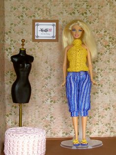 Clothes set for 12 inch doll, Knit top and pants with yellow shoes for Barbie doll, Gift ideas for girls
