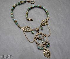 [Réservé]*Sanctuaire des fées* Collier agate mousse, feuilles : Collier par lunartemis