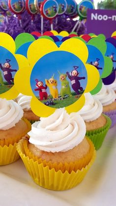 Teletubbies Picture Cupcakes Baby Boy First Birthday, 2nd Birthday Parties, Birthday Ideas, Teletubbies Cake, Creative Party Ideas, Cool Pins, Christening, Cake Ideas, First Birthdays