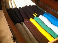 Fold t-shirts so you can see them all in the drawer