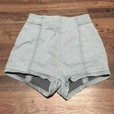 Blue high waisted shorts Light blue high waisted shorts with zipper in the back Urban Outfitters Shorts Jean Shorts