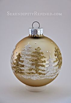 Serendipity Refined: Snowy Forest Glitter Ball Ornament {Ornament Day 12}