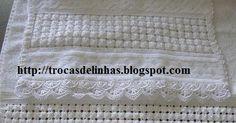 Oi meninas   Boa tarde!!!!!     Obrigada a todas pelas visitinhas, vocês são sempre muito BEM VINDAS!     Mais um trabalhinho terminado, un... Macrame Patterns, Diy And Crafts, Towel, Crochet, Silk Ribbon Embroidery, Bath Towels & Washcloths, Hand Towels, Embroidery Fonts, Jute Crafts
