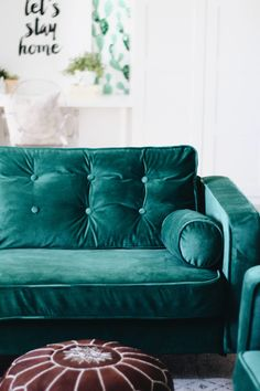 Custom slipcovers in velvet for the Ikea Karlstad from Comfort Works: https://comfort-works.com/en/karlstad-sofa-covers-70