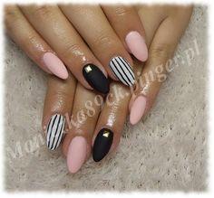 paznokcie biało czarne różowe - Szukaj w Google