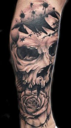 Realism Skull Tattoo by Joe Carpenter - http://worldtattoosgallery.com/realism-skull-tattoo-by-joe-carpenter-2/