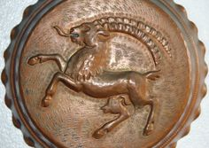 Rare Mythical Beast Ram Mold Old Copper Tin Lined by bellusvanitas