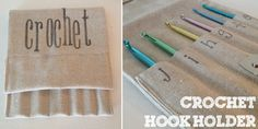 Need to make this for mom, embroider letters: Crochet Hook Holder