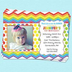 Rainbow Birthday Invitation Chevron First Birthday by CupcakeDream, $14.00