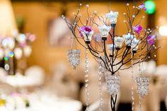 chandelier-esque wedding reception centerpieces
