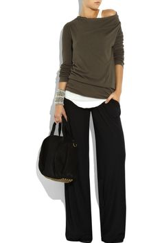 stylishly slouchy outfit: wide leg pants, brown sweater, white tank. Looks professional yet comfy!