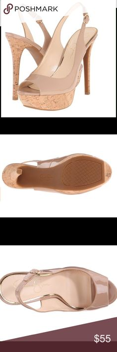 """JESSICA SIMPSON SANDALS Be the talk of the town in these spunky sandals. Jessica Simpson features a glossy nude patent sandal with sling back strap, peep-toe and with cork around the heel. Memory foam midsole. Approx  heel 5"""" and platform 1"""". Jessica Simpson Shoes Sandals"""