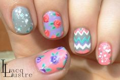 LacqLustre: Pastel Floral Mix and Match Nail Art