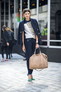 85 Street Snaps to Inspire Your Most Stylish Fall Ever: You can cover up on top, but keep things cool on bottom with a pair of vibrant ankle-strap heels to lend color and a little sex appeal to your look.  Source: Adam Katz Sinding