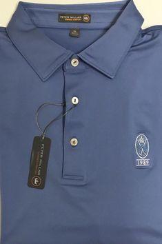 New Peter Millar E4 Summer Comfort Blue 1989 Crown Logo Golf Polo Shirt Size XL  | eBay #golfpolo
