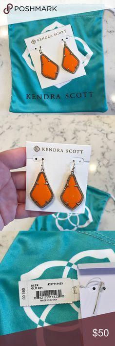 Kendra Scott Alex Earrings NWT— Kendra Scott Alex earrings in orange, with yellow gold plated frames. Kendra Scott Jewelry Earrings