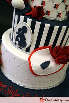 Silhouette  Yankee Themed Baby Shower Cake » Custom Baby Shower Cakes