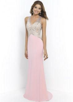 Pink Halter V Neck Blush 10000 Beaded Bodice Jersey Long Prom Dresses