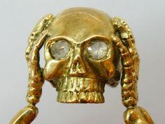 MUSEUM antique 19th C Victorian 18k gold&2ct Diamond Memento Mori Skull ring