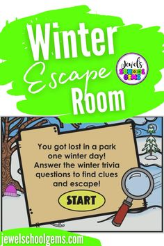 Looking for fun winter-themed activities for your students? Try this exciting digital winter escape room for kids on Boom Learning. Your students will find themselves lost in a park one winter day. They must go through four different areas in the park and click on objects in each area to find clues. They must answer multiple-choice and true or false winter trivia questions correctly in order to see if the object has a letter for the special word. Your students will surely enjoy!