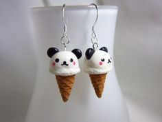Kawaii Panda Ice Cream Earrings