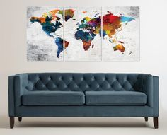 My new design sharing to my #etsy shop: Large Canvas #WorldMap #Art, #Colorful #Push Pin Travel Map Wall Decor, Watercolor Texture Canvas Map Home or Office #Decor, #worldmapwalldecor #map https://etsy.me/2GL1s6O #art #print #giclee #rainbow #mothersday #canvasworldmap
