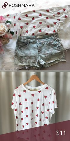 F21  Watermelon Shirt Summer is here!  Cute watermelon t-shirt from forever 21. NWT. Forever 21 Tops Tees - Short Sleeve