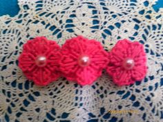 Pink Pearl and flower Barrette by angelsandcrafts on Etsy, $5.50