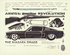 """""""Niagara Drags"""", 14x11″, permanent marker and graphite on antique book paper, 2016."""