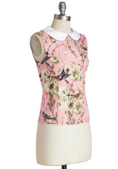 Find pretty prints and make cute tops like this for summer. Pair with plain circle skirts.