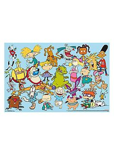 "Colorful poster from Nickelodeon with a retro group design including characters from Ren & Stimpy Show, Aaahh!!! Real Monsters, Hey Arnold!, Cow and Chicken, Rocko's Modern Life, CatDog, Angry Beavers and Rugrats. 24"" x 36""Imported"