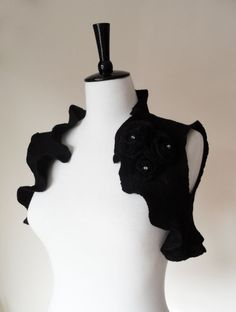 Bridal Bolero Shrug Black Gothic Wedding by softadditions on Etsy