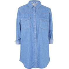 TOPSHOP MOTO Oversized Shirt Dress found on Polyvore featuring dresses, tops, shirts, short dresses, bright blue, cotton shirt dress, shirt-dress, blue mini dress, blue dress and shirt dress