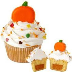 Give guests a special treat this fall: a pumpkin pie-filled cupcake with a cookie accent. Create the cookie topper using the Wilton Harvest Mini Metal Cutter Set.