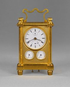 Carriage Clock by Charles Edward Viner is recognised as one of the finest and most innovative makers of the 19th century  An important nineteenth century English travelling timepiece with one month duration and perpetual calendar.   The engine-turned gilt brass case, with bronze shuttered rear door,    The dial is signed by the maker with a subsidiary seconds below twelve o'clock and an up-and-down dial  indicating the state of wind for twenty eight days.