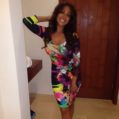 7fdb3b4a2d Splurge  Lala Anthony s Instagram Preen Floral Paintdrip Printed Scoop Neck Jersey  Dress Celebrity Style Inspiration