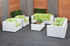 Furniture: Modern Outdoor Rattan Furniture With Green Cushion And ...
