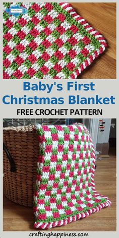 Baby's First Christmas Blanket Free crochet pattern by Crafting Happiness. - - Baby's First Christmas Blanket Free crochet pattern by Crafting Happiness. Diy Christmas Blankets, Christmas Crochet Blanket, Christmas Afghan, Baby Afghan Crochet, Christmas Crochet Patterns, Afghan Crochet Patterns, Single Crochet Stitch, Basic Crochet Stitches, Crochet Basics