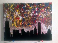 Chicago Skyline Abstract Splatter Painting