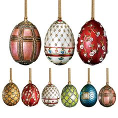 Russian Imperial Large and Mini Egg Christmas Ornament Set - Christmas Ornaments - Holiday - The Met Store