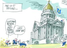 This Pat Bagley editorial cartoon appears in The Salt Lake Tribune on Sunday, Jan. And So It Begins, Salt, Cartoons, Editorial, Sunday, Cartoon, Domingo, Animated Cartoons, Comic Books