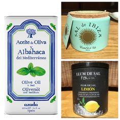 Our delicious basil oil, sal de Ibiza sea salt and lemon salt from Llum de Sal