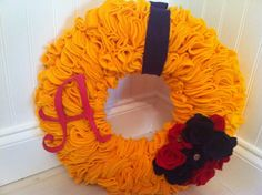 Yellow Felt Wreath with Red initial and Red by JenniCopelandCrafts, $35.00