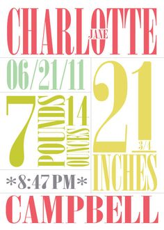 Typographic baby announcement. Funky and fun. I love how this looks!