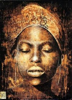 """Les Yeux Fermés"" - Fabienne Arietti. The title means 'eyes closed.' {female head african woman face portrait grunge painting} Introspection!!"