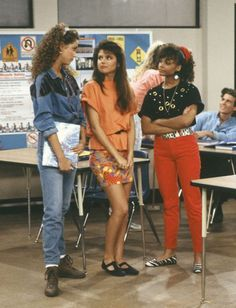 Saved by the Bell fashion is slowly coming back- Lisa's zebra print loafers and red jeans, and Jesse's denim on denim.