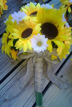 2 piece Sunflower Bouquet Yellow Sunflower Wedding Bouquet Set, Bridal Bouquet, Sunflower Burlap Bouquet, Daisy Bouquet, Yellow Bouquet by SilkFlowersByJean on Etsy
